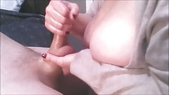 Handjob Closeup with Cum, big Tits