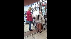 Granny in white skirt under the table, pantyhose upskirt, oops