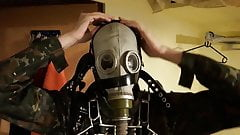 Putting on the harness for my great russian GP-5 Gasmask