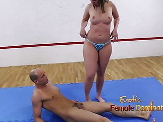 Striped door mat Brunette on mat controls her submissive man