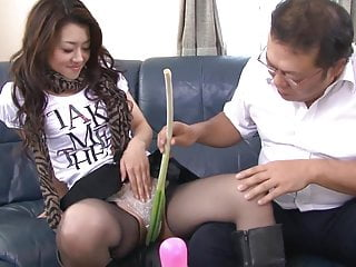 Latex nylon - Kinky slut gets various vegetables shoves in her tight cunt