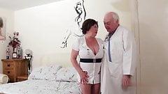 Dirty doctor fucks his BBW naughty nurse mature straight dad