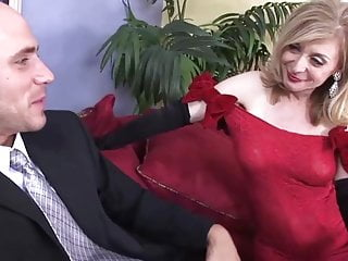 Sexy dressed housewives - Sexy red dress stockings for cougar top mature