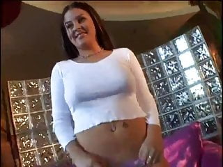 Brunette nice tits Chubby brunette with nice tits takes it in all holes