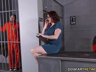 Maggie and jiggs porn - Busty maggie green has interracial threesome in jail