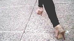 Sexy Candid Strappy Platform Heels Walking