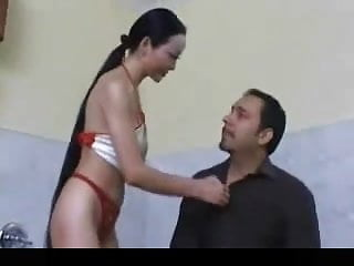 An erotic wearwolf Long haired asian woman gives an erotic massage
