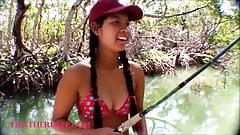 Tiny Asian Thai Heather Deep goes fishing and plays hide th