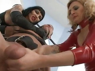 Femdom milking chair handjob - Milked and sounded by two mistresses