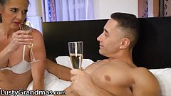 LustyGrandmas GILF Greets Stud in His Bedroom