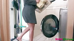 Stepmom riding washer gets eaten out and fucked