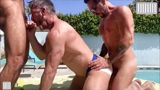 Daddy threesome at the pool