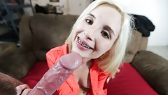 Young Petite Tiny Blonde Teen With Braces Gets Casting Fuck, POV