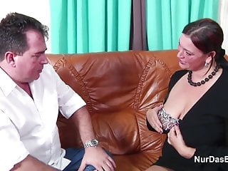 Mature gay dad - German mom with monster tits in casting with dad for money