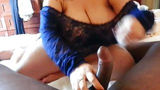 her 1st attempt at tit fucking