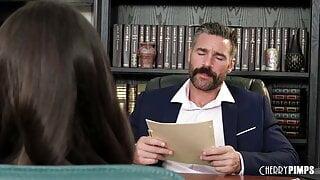 Job interview turns Into a desktop deepthroat blowjob