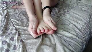 footjob with big cumshot on my stepsister's feet!