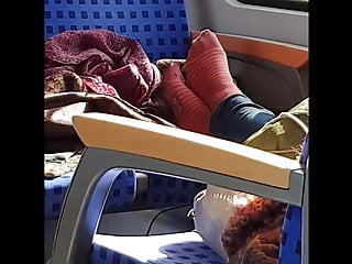 Shemale red white sock Striped red worn socks in a train