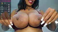 Busty Anahi sucks a dildo then her brown nipple