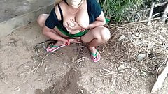 Busty Stepsister pissing and fingering on a farm outdoors