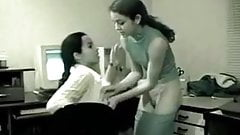 Desi cute lesbian lovers have romance in office