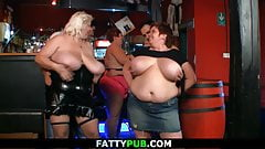 Big tits party in the bbw bar