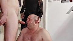 Teen goth dominatrix helps her dad to facefuck slave pt2