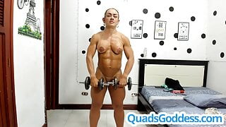 Nude Personal Training with Pro Female Bodybuilder