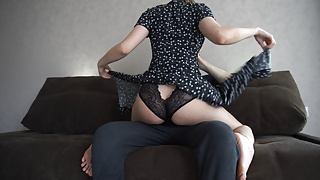 BLACK DRESS COVERS HER INNOCENT ASS IN ROMANTIC COWGIRL SCENE