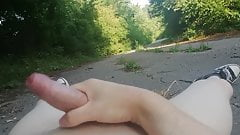Masturbating on the Road in the Forest