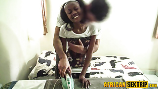 My black maid thinks getting drilled is her fav chore