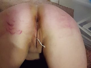 Red bottom spanking paddle Milf with a red paddled ass and a string out her pussy