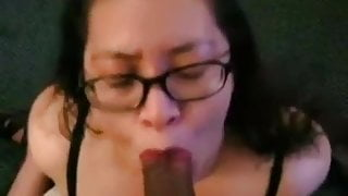 Mature Asian sucking big black dick