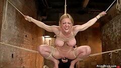 Hogtied blonde MILF in bondage pussy toyed