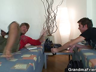Mature old skinny Old skinny granny takes 2 cocks from both sides