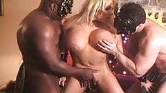 Hot vampire cosplay blonde interracial threesome