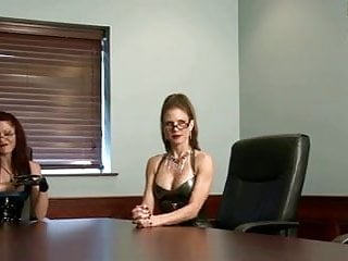 Femdom milking her slave - Two doms milk office slave with gloves