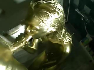 Edible sex paint Gold painted japanese sex