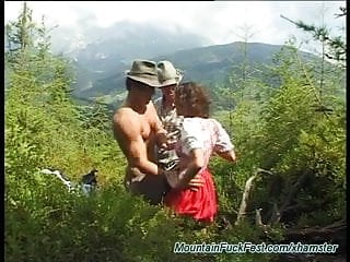 Hidden extreme threesome Extreme threesome fuck in the mountain