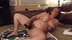 BBW mom with hairy pussy, black vibrator and dirty talk