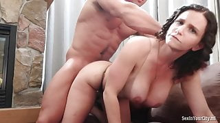 Inflated guy fucks a girl with big tits