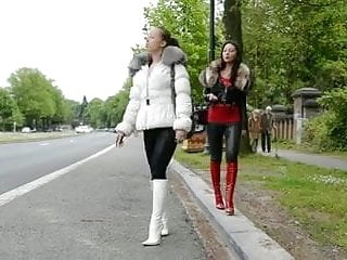 Russian teen designer Hooker waiting a john in designer patent leather boots