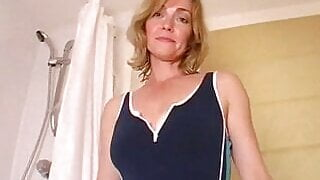 Milf stripping and fingering