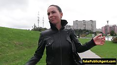 Bigtit euro fucked outdoors for cash