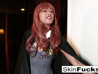 Skin dressed as Harry Potter gets fucked hard
