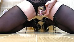 Cum in spiked chastity cage