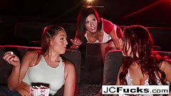 3-way lesbian romp in a dark theatre