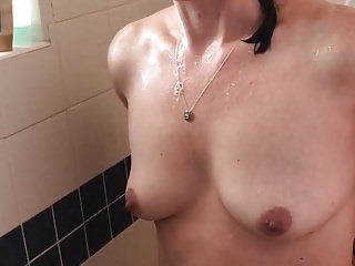 Chubby brunette with tramp stamp Average milf triple tramp stamp. shower