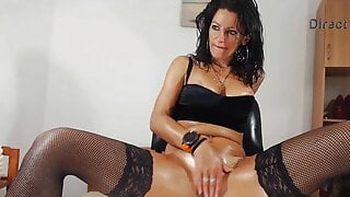 Oiled up biker chick Anny Skye is looking for hard cocks