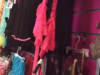 Couple with door open sex videos - Trying on lingerie with the door open